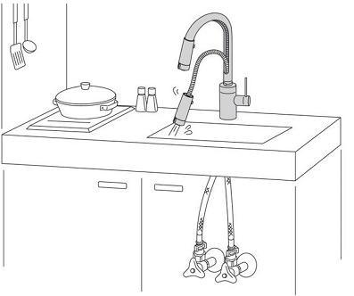 KVK,キッチン水栓,水栓金具,ブラック,黒,モノトーン,シック,LIXIL,INAX,カクダイ,ハンズフリー