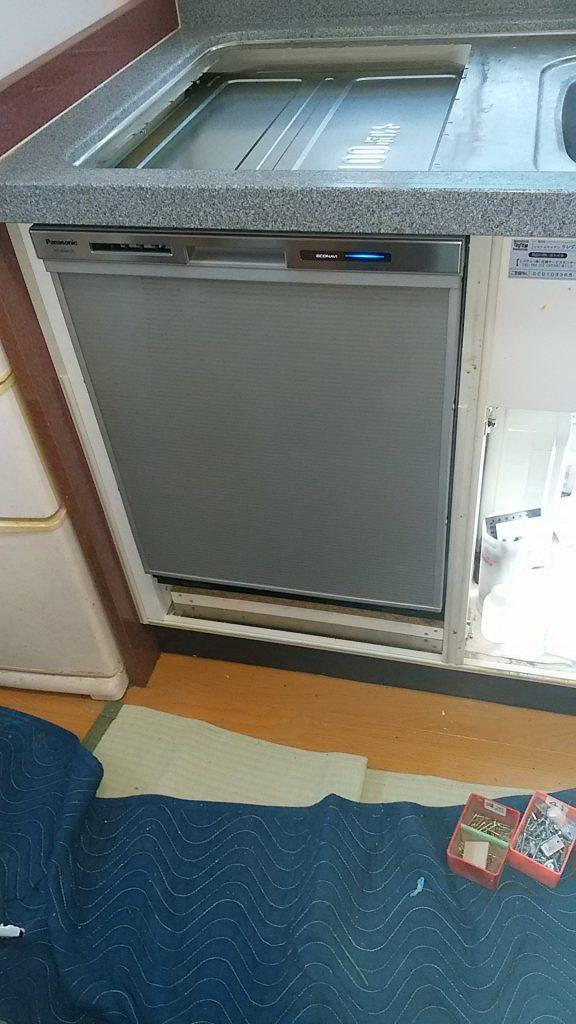 パナソニック食洗機 交換 NP-45MD7S④ 食洗機,トップオープン,取り付け,上開き,買い換え,交換,取り替え,リフォーム,ビルトイン,食洗機交換工事,取り付け,パナソニック