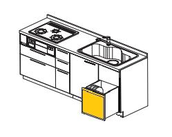 シンク下食器乾燥機を食洗機へ取替え交換工事