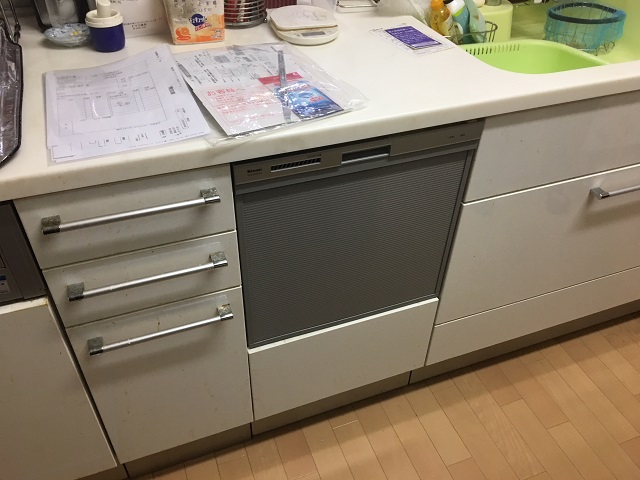 食洗機,買い換え,交換,取り替え,リフォーム,ビルトイン,食洗機交換工事,取り付け,シルバー,リンナイ,RKW-404A-SV,RKW-V45A-SV