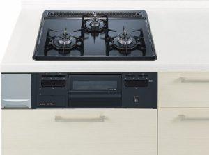 ハーマン製(Panasonic)QSEG32Q1V ブラック 3口コンロ・ホーロートップタイプ