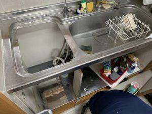 トップオープン食洗機工事前 シンク下片付け