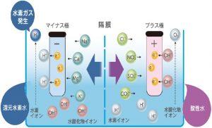 パナソニック還元水素水生成器 電気分解しくみ