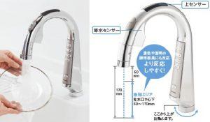 パナソニック浄水器 スリムセンサー水栓 センサー検知範囲